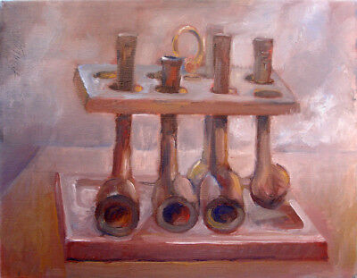 """Vintage Pipe Rack - Antique Wooden Smoking Pipes 11""""x14"""" Oil Hall Groat Sr."""