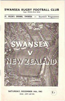 NEW ZEALAND 1963 v SWANSEA   RUGBY PROGRAMME