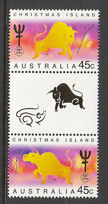 1997 Christmas Island Year Of The Ox - MUH Gutter Pair