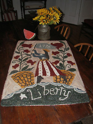 "Primitive Hooked Rug Pattern On Monks ""Lady Liberty"""