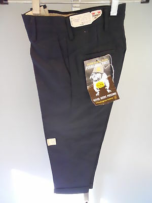 Nos Vintage Dark Navy Burlington Oven Cured Slacks Trousers Pants Retro Boys 6