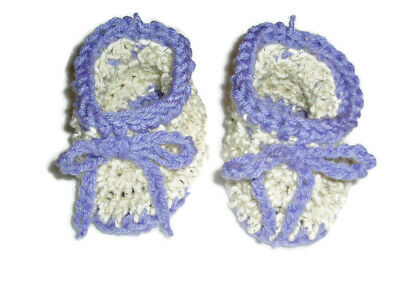 Ivory 3 to 6 Month Baby Shoes Booties Hand Crocheted