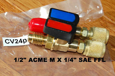 "Pair:Car AC Pump/Manifold Tool Adapter w/Hand Valve 1/4""FFLX1/2""ACME HVAC Tool"