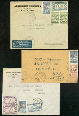 Syria 1946 covers (x3)/12 stamps/Postal Tax 1945 5p