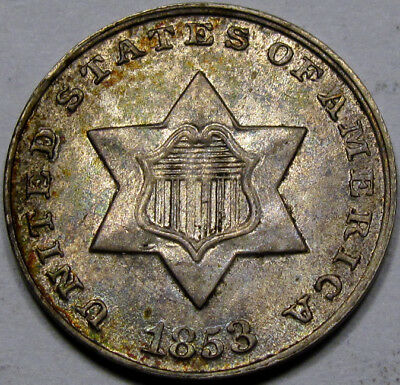 1853 Silver Three Cent Gem BU+ 100% ORIGINAL with VERY NICE TONING, Great Coin!!