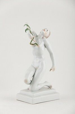 HEREND CLEOPATRA Nude Girl with Snake Porcelain Figure