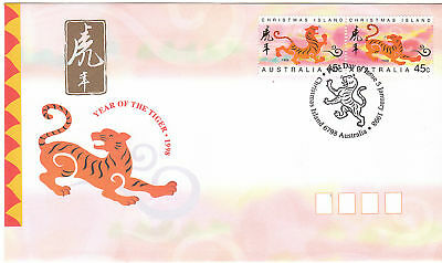 1998 Christmas Island Year of The Tiger (Gummed Stamps) FDC