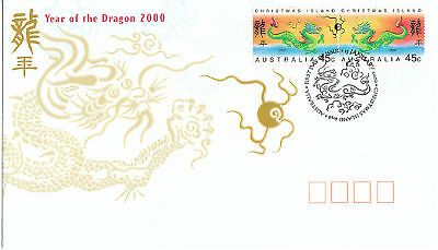 2000 Christmas Island Year of The Dragon (Gummed Stamps) FDC