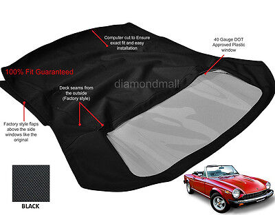 Fiat 124 Spider CS1,1600, 1800 Convertible Soft Top 1966-1979 Black Pinpoint
