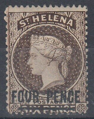 ST HELENA 1890 4d. LIGHT BROWN QV SURCHARGE MNG