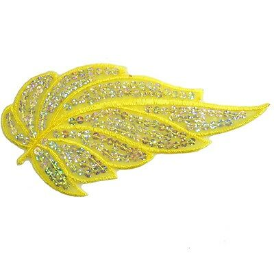 i208 Iron On Yellow +Silver Sequin Applique Flower Leaf