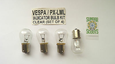 CLEAR INDICATOR BULBS.  12v SET OF 4.  SUITABLE FOR THE PX AND LML SCOOTERS