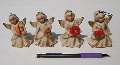 4 Homco Christmas Angels Porcelain Ornaments