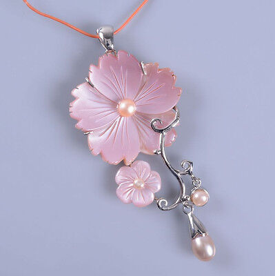 g377 Pink mother of Pearl MOP shell flower long pendant 70mm