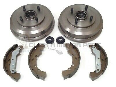 Ford Fiesta Mk5 Rear Brake Drums + Shoes Set + Fitted 2 Wheel Bearings + Hub Nut