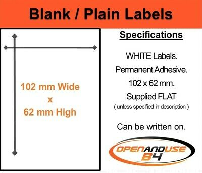 Blank White Labels 102 x 62mm - FREE p&p - use to recycle your used envelopes