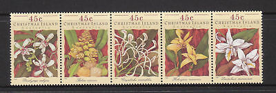 1994 Christmas Island Orchids MUH - Strip of 5