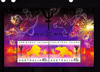 1997 Xmas Island Year of the OX  MUH Mini Sheet