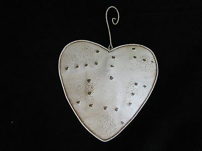 PRiMiTiVe Style WHITE / Ivory  Patchwork Heart Ornaments 3pc NEW Tender Heart