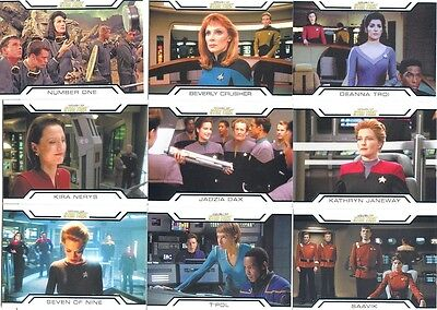 2017 Women Of Star Trek 50th Anniversary Women In Command Set Of 9 Chase Cards!