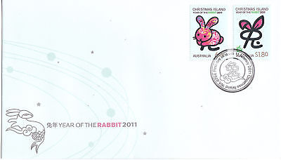 2011 Christmas Island Year Of The Rabbit (Gummed Stamps) FDC