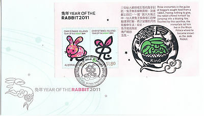 2011 Christmas Island Year Of The Rabbit (Mini Sheet) FDC