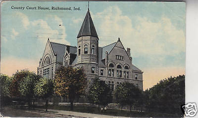 COUNTY COURT HOUSE, RICHMOND IN. POSTCARD, Old