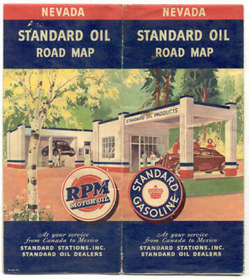 1940 Standard Oil Co Map Of Nevada Complete Ad442