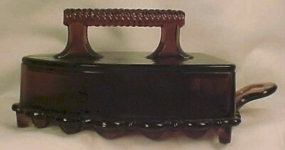 EAPG Antique FLAT IRON AMETHYST GLASS BUTTER DISH Exc
