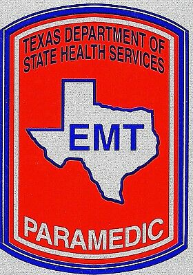 TEXAS PARAMEDIC Highly Reflective EMT DECAL - Texas Department of Health decal