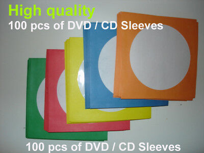 100 Paper Sleeve Flap Clear Window Case for CD DVD R 5 different color sleeves