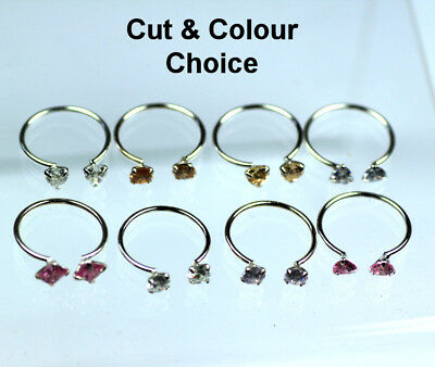 Silver Cubic Zirconia Toe Rings Colour & Cut Choice