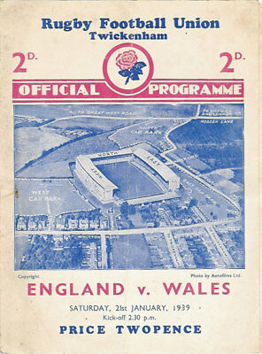 ENGLAND v WALES 1939 RUGBY PROGRAMME