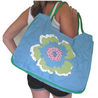 BEACH BAG Large Blue with Flower Floral,White,Huge,Tote