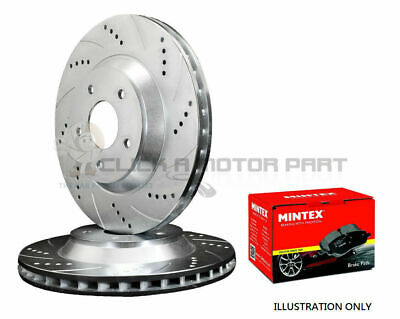 for SUBARU IMPREZA WRX 2.5 TURBO FRONT DRILLED GROOVED DISCS MINTEX BRAKE PADS