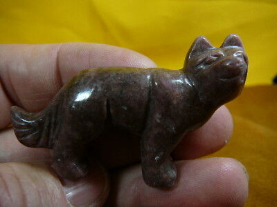 (Y-WOL-700) PINK WOLF wolves gem stone gemstone carving FIGURINE COYOTE WILD DOG