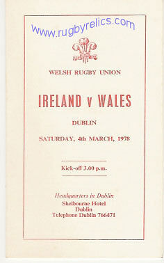 WALES v IRELAND 1978 RUGBY PLAYERS ITINERARY