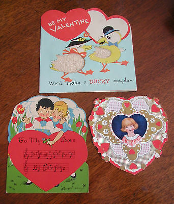(3) Various Vintage 1930s Valentine's Day Cards Hearts Used