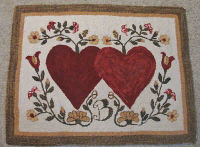 Primitive Hooked Rug Pattern On Monks ~ Hearts Entwined