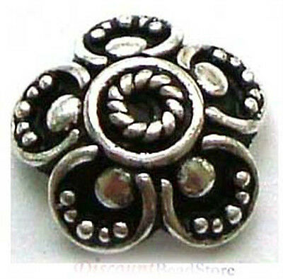 6x BALI solid 925  Sterling SILVER large flat flower Bead Cap 10mm x 3.5mm C030