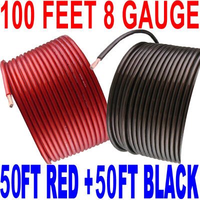 8 Gauge Wire 100 Feet 50 Feet Red + 50 Feet Black Power Ground Hyperflex
