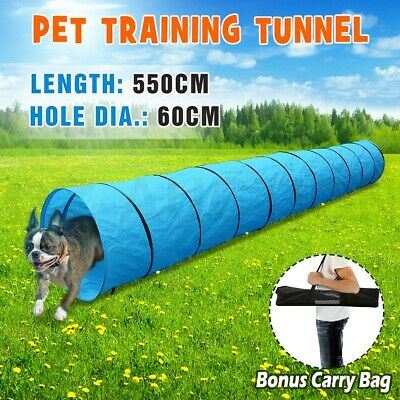 Long Waterproof Pet Dog Agility Training Exercise Tunnel Chute 5.5M & Carry Bag
