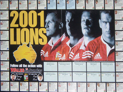 Lions Tour Pre Tour Rugby Team Poster 2001