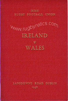 IRELAND v WALES 1960 SPECIAL EDITION RUGBY PROGRAMME