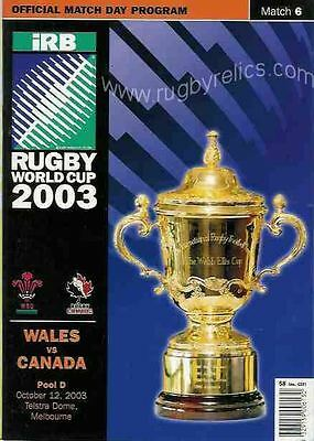 CANADA v WALES 12th OCTOBER 2003 RUGBY WORLD CUP PROGRAMME
