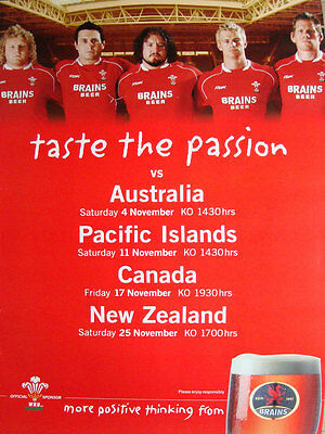 Wales Autumn Fixtures 2006 Rugby Poster