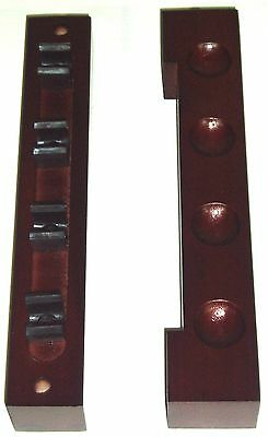2 Piece Mahogany Wooden Cue Rack Holder. Holds Up To 4 Cues.