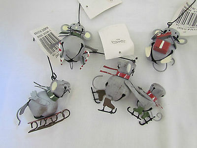Merry Winter MICE Jingle Bell Ornaments Christmas Mouse 4pc skating sledding NEW