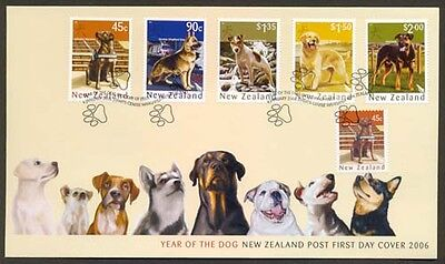 NEW ZEALAND FDC 2006 YEAR OF DOG SET OF 5 + S/A