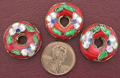 Three  21Mm Red Floral Donut Cloisonne Bead